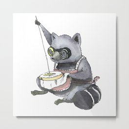 Raccoon Cross Stitching Metal Print