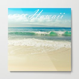 Hawaii Graphic Tropical Beach Decor Metal Print