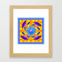 Baby Blue & Purple Morning Glories Art Framed Art Print