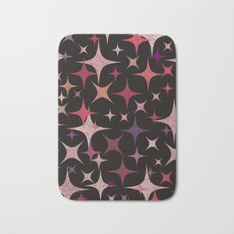Shimmering Purple, Red, Pink and White Stars Bath Mat