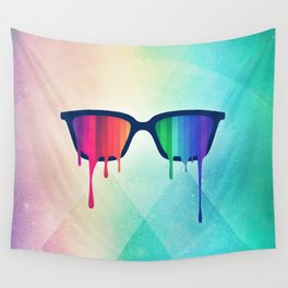 Love Wins! Rainbow - Spectrum (Pride) / Hipster Nerd Glasses Wall Tapestry