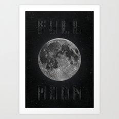 Full Moon Calendar Art Print