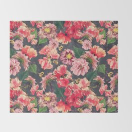 Vintage Flowers and Bees Throw Blanket