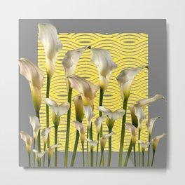 Grey & Yellow Pattern Calla Lilies Art Metal Print
