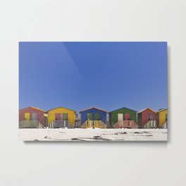 Colourful beach huts on the beach in Muizenberg, South Africa Metal Print
