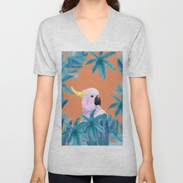 Cockatoo with tropical foliage and a coral background Unisex V-Neck