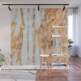 White Alabaster Marble With Flowing Gold-Glitter Veins Wall Mural