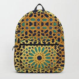 -A1_2- Golden Original Traditional Moroccan Artwork. Backpack