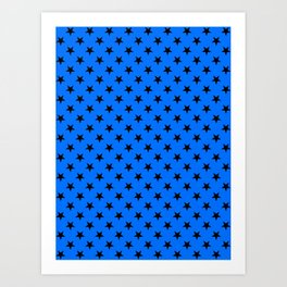 Black on Brandeis Blue Stars Art Print