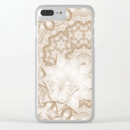 Butterfly on mandala in iced coffee tones Clear iPhone Case