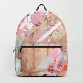 Vintage floral watercolor rustic brown wood geometric triangles Backpack