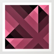 Pink and Black Gradient  abstract Art Print