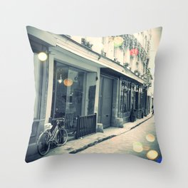 Bicycle and cobblestone Throw Pillow