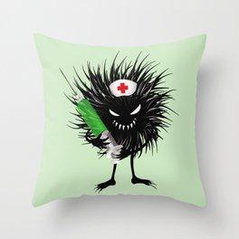 Evil Bug Nurse With Syringe Throw Pillow