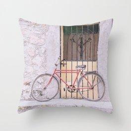 Red Bike/Yellow Door Throw Pillow