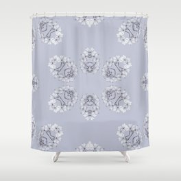 Silver Wildflowers Shower Curtain