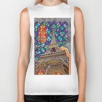 eiffel tower Biker Tanks featuring Eiffel Tower by Art By Carob