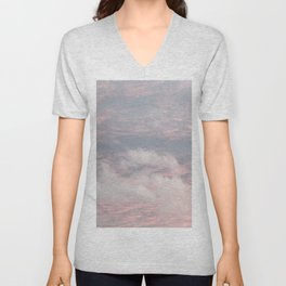 Cloud layers of Pink Unisex V-Neck