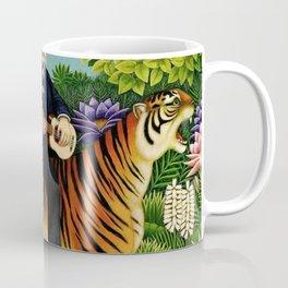Henri Rousseau Dreaming of Tigers tropical big cat jungle scene by Henri Rousseau Coffee Mug