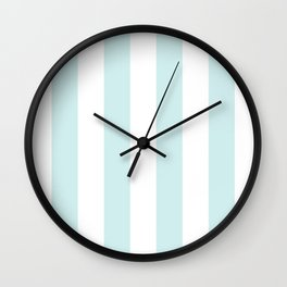 Vertical Stripes - White and Light Cyan Wall Clock