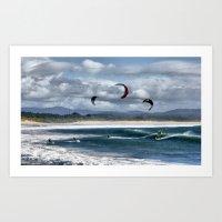 Kitesurfing on beach Art Print