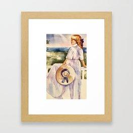 girl on porch Framed Art Print