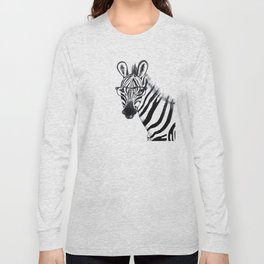 Zebra with glasses, black and white Long Sleeve T-shirt