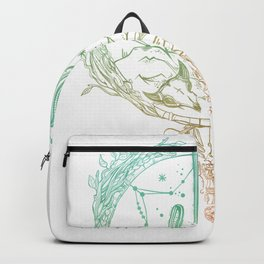 Desert Cactus Dreamcatcher Turquoise Coral Gradient on White Backpack