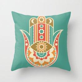 Colorful Hamsa Hand Throw Pillow