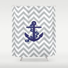 Anchor on Grey Chevron Pattern Shower Curtain
