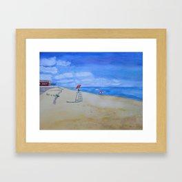 Salisbury Beach Watercolor Painting Framed Art Print