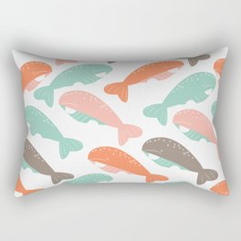 Happy pattern with little whales Rectangular Pillow