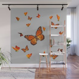 FLOCK OF ORANGE MONARCH BUTTERFLIES ART Wall Mural