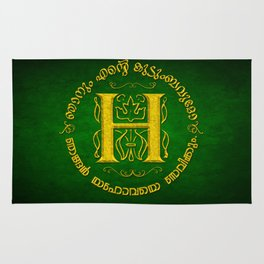 Joshua 24:15 - (Gold on Green) Monogram H Rug