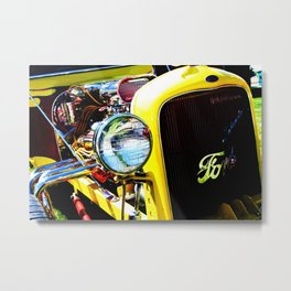 Classic Yellow Ford with Exposed Engine Metal Print