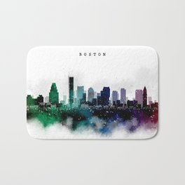 Boston Watercolor Skyline Bath Mat