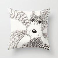 schnauzer Throw Pillows featuring Schnauzer by Noreen Loke