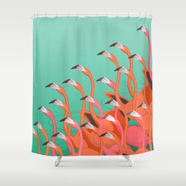 Fresco of the flamingoes. Shower Curtain