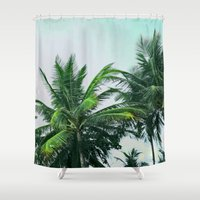 palm trees Shower Curtains featuring Palm Trees by Sweet Karalina