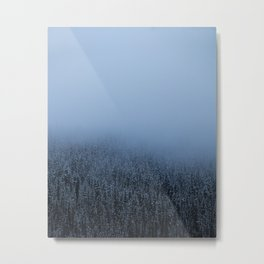Foggy Lake Louise Trees Metal Print