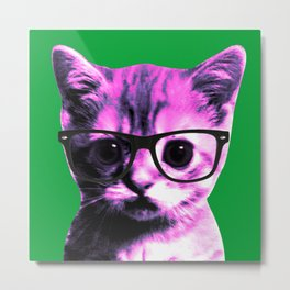 Pop Art Kitten with gasses on Green Background Metal Print