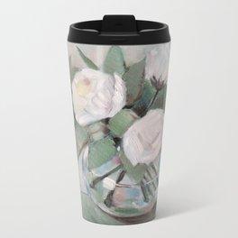 White roses Metal Travel Mug