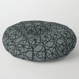 PPG Night Watch Pewter Green and Black Rings, Circle Heaven 2, Overlapping Ring Design Floor Pillow