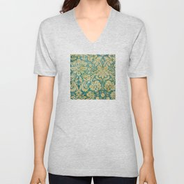 Vintage Antique Green and Gold Pattern Wallpaper Unisex V-Neck