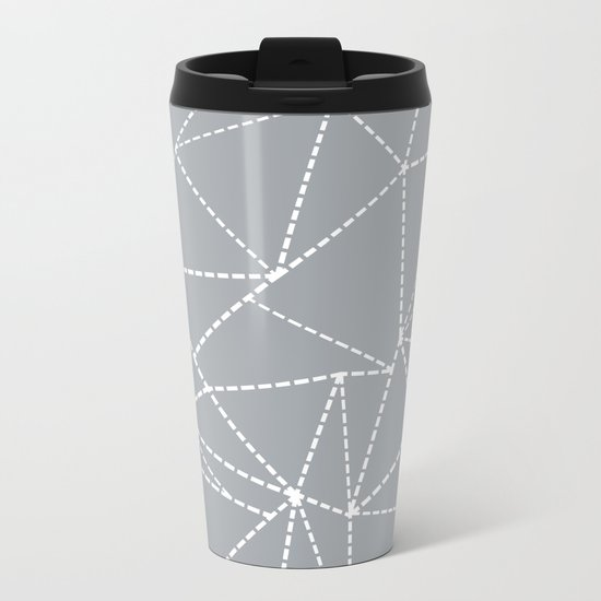 Abstract Dotted Lines Grey Metal Travel Mug