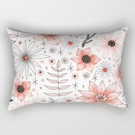 red and black floral pattern Rectangular Pillow