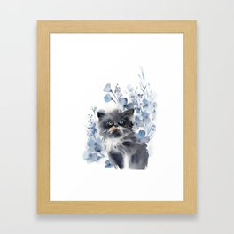 Kitten and blue florals Framed Art Print
