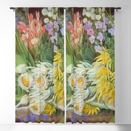 Medley of Wild Summer Mountain Flowers still life painting Blackout Curtain