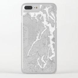 Puget Sound Washington State Nautical Chart Map Print 1956, Map Art Prints Clear iPhone Case