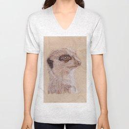 Meerkat Portrait - Drawing by Burning on Wood - Pyrography Art Unisex V-Neck
